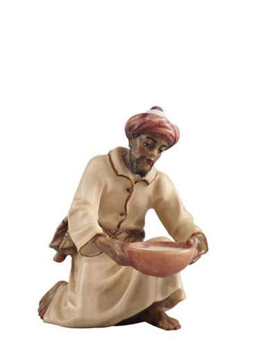 801052 Camel Driver Kneeling with Water Real Wood Painted Kostner Nativity from Pema in Italy
