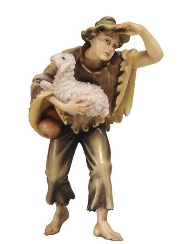 801054 Boy Carrying Sheep Real Wood Painted Kostner Nativity from Pema in Italy