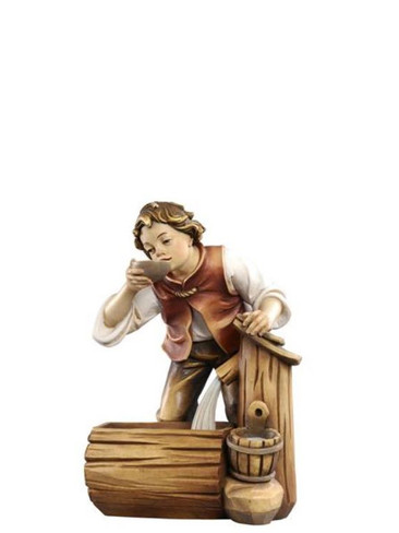 801055 Boy at Well Real Wood Painted Kostner Nativity from Pema in Italy