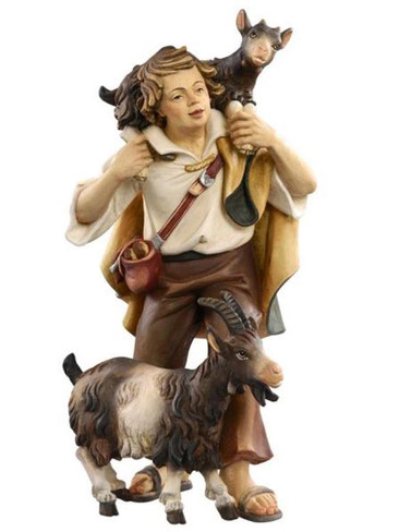 801057 Shepherd with Goats Real Wood Painted Kostner Nativity from Pema in Italy