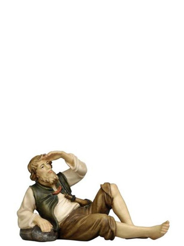801058 Shepherd Lying Real Wood Painted Kostner Nativity from Pema in Italy