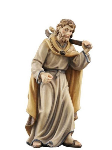 801062 Joseph Searching for Shelter Real Wood Painted Kostner Nativity from Pema in Italy