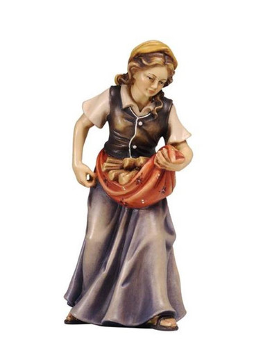 801066 Lady Carrying Wood Wood Painted Kostner Nativity from Pema in Italy