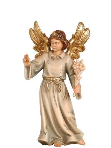 801065 Angel Proclaiming Birth Real Wood Painted Kostner Nativity from Pema in Italy
