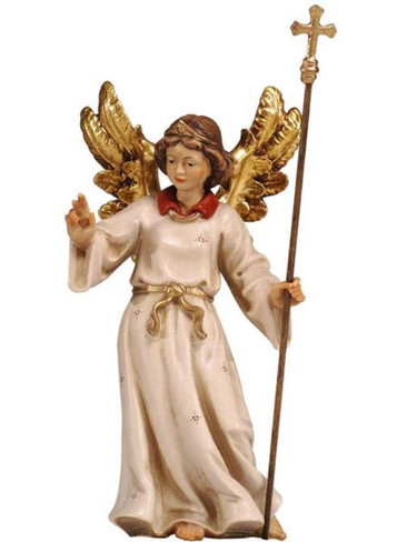 801069 Angel Pointing the way Real Wood Painted Kostner Nativity from Pema in Italy
