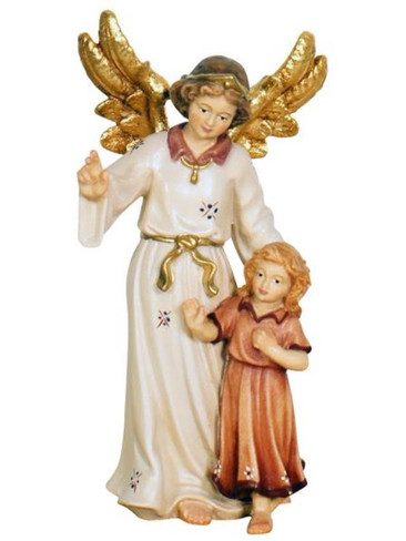 801070 Guardian Angel with Girl Real Wood Painted Kostner Nativity from Pema in Italy
