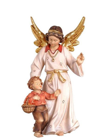801071 Guardian Angel with Boy Real Wood Painted Kostner Nativity from Pema in Italy