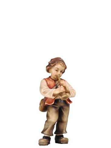 801072 Boy with Trumpet Real Wood Painted Kostner Nativity from Pema in Italy