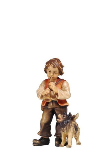 801076 Boy with Dog Real Wood Painted Kostner Nativity from Pema in Italy