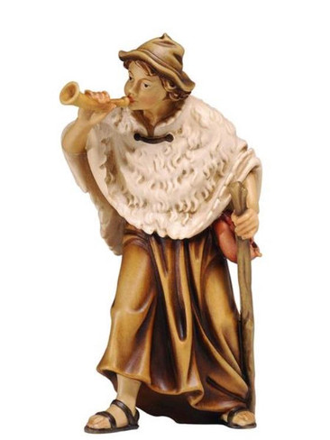 801078 Shepherd with Horn Real Wood Painted Kostner Nativity from Pema in Italy