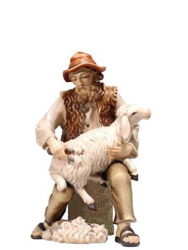 801082 Shepherd Shearing Sheep Real Wood Painted Kostner Nativity from Pema in Italy