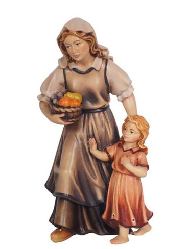 801083 Shepherdess with Girl Real Wood Painted Kostner Nativity from Pema in Italy