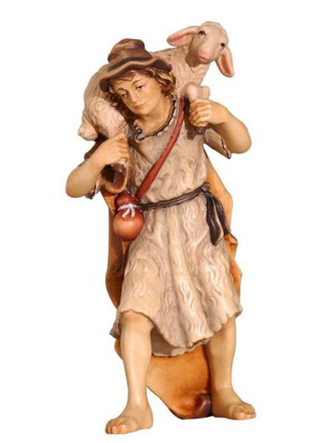 801084 Shepherd Carrying Sheep Real Wood Painted Kostner Nativity from Pema in Italy