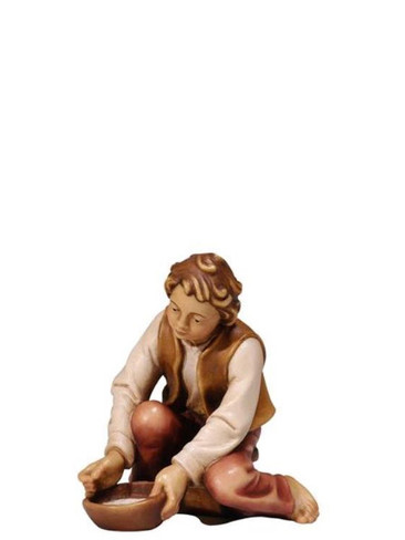 801085 Boy Milking Real Wood Painted Kostner Nativity from Pema in Italy