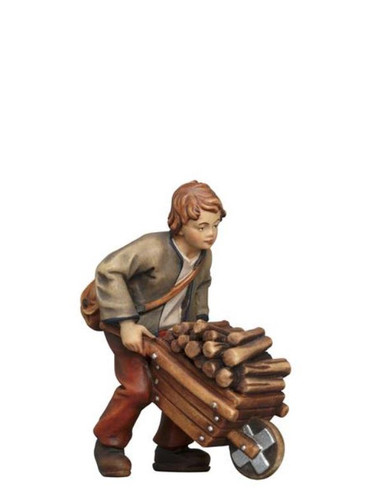 801086 Boy with Wheel Barrow Real Wood Painted Kostner Nativity from Pema in Italy