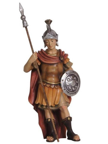 801088 Roman Soldier Real Wood Painted Kostner Nativity from Pema in Italy
