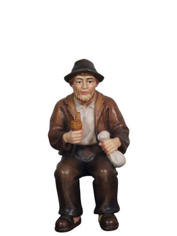 801090 Grandpa with Pipe Sitting Real Wood Painted Kostner Nativity from Pema in Italy