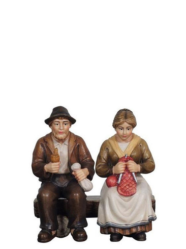 8010901 Grandma and Grandpa on Bench Real Wood Painted Kostner Nativity from Pema in Italy