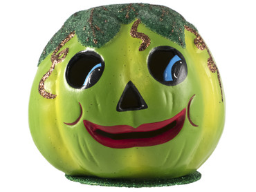 421-4 Green Pumpkin with Beaded Leaves from Ino Schaller Paper Mache Candy Container