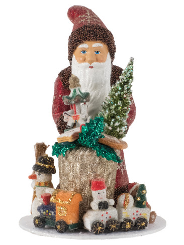 18201 Santa with Toys from Ino Schaller Paper Mache Candy Container