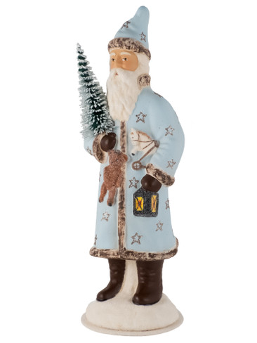 19292 Light Blue Santa with Teddy Bear from Ino Schaller Paper Mache Candy Container