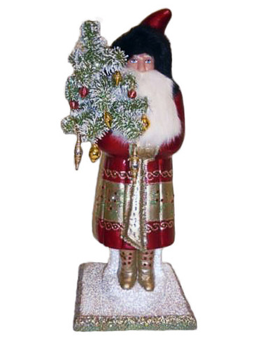 1354S Bordeaux Santa with Goose Feather Tree from Ino Schaller Paper Mache Candy Container