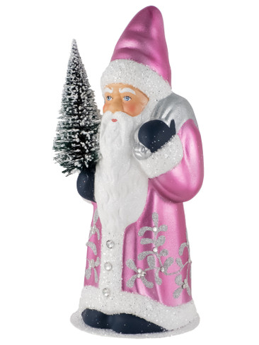 19331-S Fuchsia Santa with Tree from Ino Schaller Paper Mache Candy Container