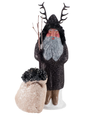 27271 Krampus in Black with Bag of Coal from Ino Schaller Paper Mache Candy Container
