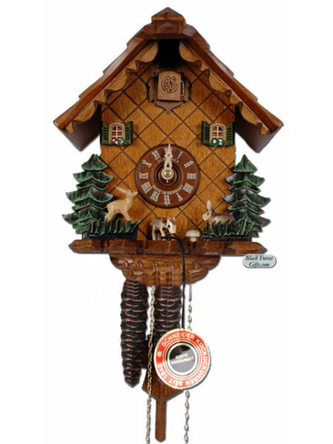 1303-9 Anton Schneider Moving Animals Chalet 1 Day Cuckoo Clock