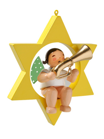 650-70-28 Hanging Angel Ornament with Tuba in Star from Wendt and Kuhn