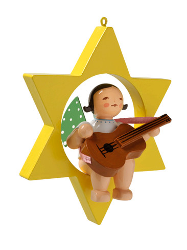 650-70-38 Hanging Angel Ornament with Guitar in Star from Wendt and Kuhn