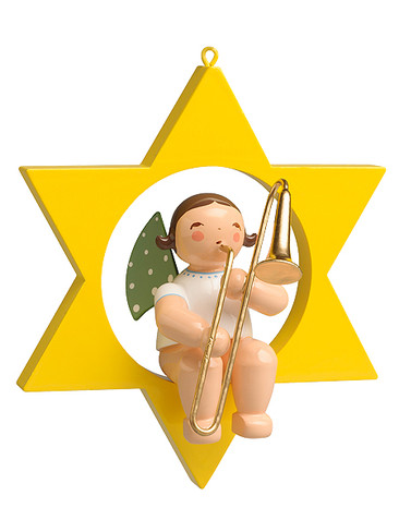 650-70-29 Hanging Angel Ornament with Trombone in Star from Wendt and Kuhn