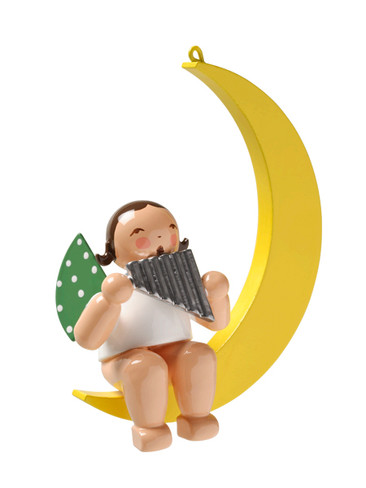 650-70-27 Hanging Angel Ornament with Pan Flute in Moon from Wendt and Kuhn