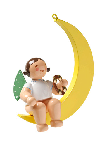 650-70-57 Hanging Angel Ornament with Tambourine in Moon from Wendt and Kuhn