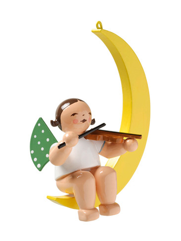 650-70-2 Hanging Angel Ornament with Violin in Moon from Wendt and Kuhn