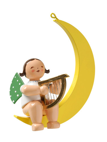 650-70-14b Hanging Angel Ornament with Harp in Moon from Wendt and Kuhn