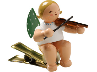 650-90-2 Angel Ornament with Violin on Clip from Wendt and Kuhn