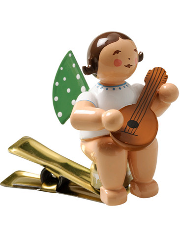 650-90-4 Angel Ornament with Mandolin on Clip from Wendt and Kuhn