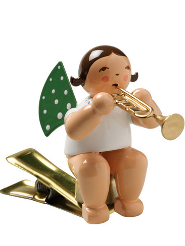 650-90-36 Angel Ornament with Trumpet on Clip from Wendt and Kuhn