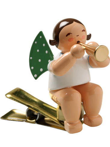 650-90-3 Angel Ornament with Small Trumpet on Clip from Wendt and Kuhn