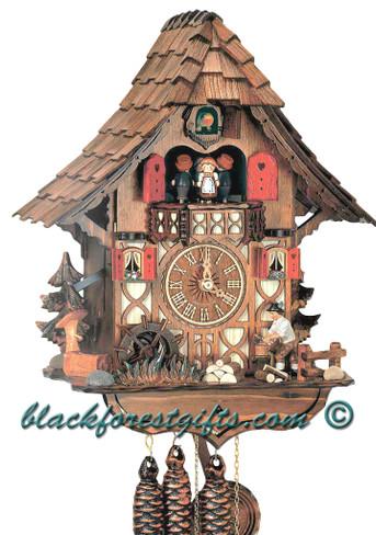 MT1683-9 Musical Wood Chopper Chalet 1 Day Cuckoo Clock