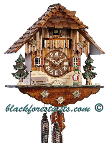MT1709-9 Musical Accordian Player Chalet 1 Day Cuckoo Clock