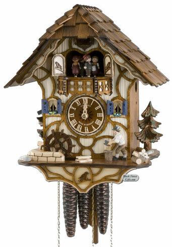 MT6575-9 Musical Wood Chopper Chalet 1 Day Cuckoo Clock