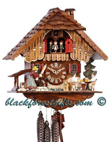 MT698-9 Musical Rolling Pin Beer Drinkers Chalet 1 Day Cuckoo Clock
