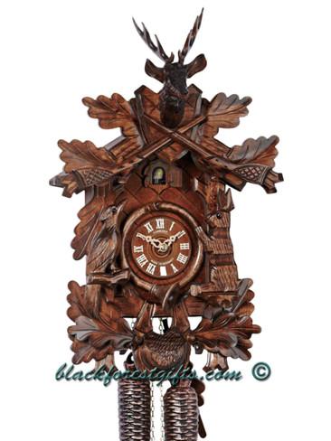 215-9 Anton Schneider Carved Live Hunters 1 Day Cuckoo Clock