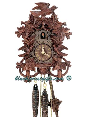 872-11 Anton Schneider Carved 3 Birds 1 Day Cuckoo Clock