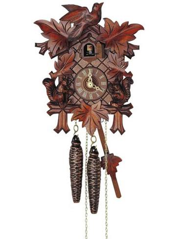 89-11 Anton Schneider Carved Squirrels 1 Day Cuckoo Clock