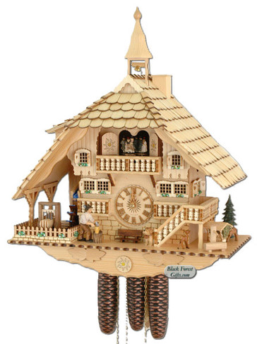 8TMT1071-0 Anton Schneider 8 Day Natural Farmhouse Cuckoo Clock