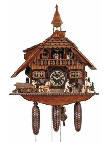 8TMT1595-9 Anton Schneider 8 Day Saw Mill Cuckoo Clock