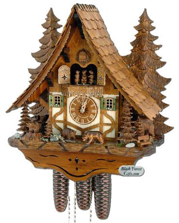 8TMT2653-9 Anton Schneider 8 Day Bears in Forest Cuckoo Clock